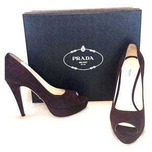 Burgundy Suede Prada Shoe